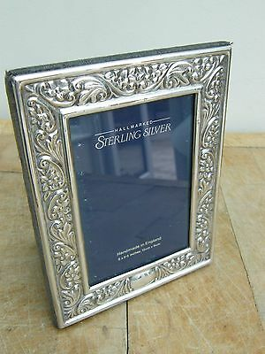 "Ornate Hallmarked Solid Silver Photo Picture Frame Sheffield  1990 7"" X 5.5"""