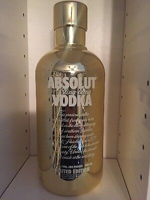 700ml GOLD Absolut Vodka Case Rare Bling Bling EMPTY No Alcohol