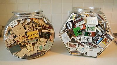 Retro Vintage Matchboxes And Matchbooks Collection With Glass Canisters