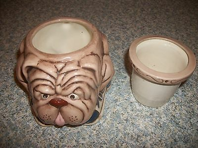 Cute Bulldog With Tennis Shoes 2Pc Ceramic Pottery Planter + Insert *free Ship