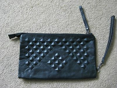 NEW Country Road black leather large clutch bag RRP $169