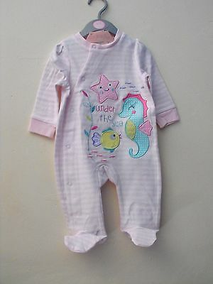 Rock a bye Baby Girls under the Sea Cotton all in one Sleepsuit pink white