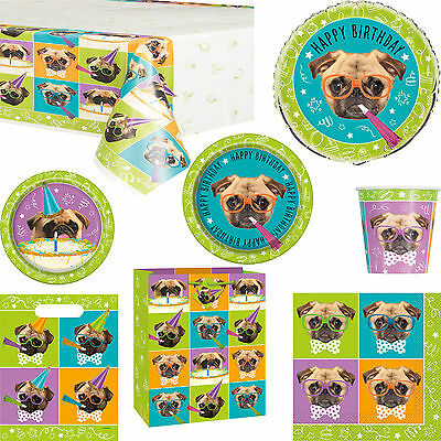 Pug Puppy Happy Birthday Party Decorations Tableware Gift Bag & Balloon