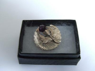 Antique marked Silver Brooch Scotish Thistle pin in a gift box