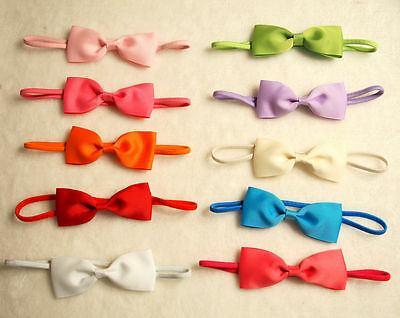 "10 PCS ""4 inch"" Baby Toddler Girls ribbon hair bow Elastic headband hairband .."