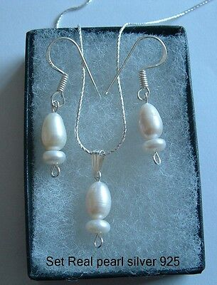 925 Sterling Silver necklace 18ins earrings set real pearls gemstone in box.