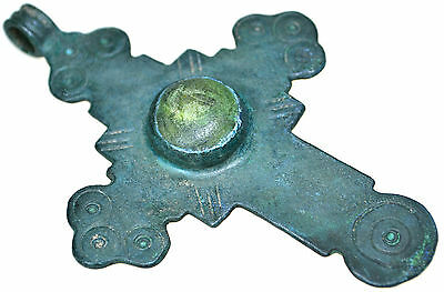 Large Byzantine Bronze Christian Cross Pendant with Stone