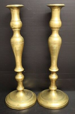 """Antique Pair of Large Bulbous Shaped Brass Candlesticks / Candle Holders ~ 16.5"""""""