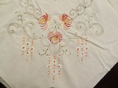 """Huge Vintage Oval Embroidered Hand Stitched Tablecloth 100 x 65"""" Beautiful!"""