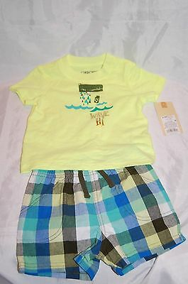 New Cherokee Infant Baby Boy Plaid 2 pc Alligator Outfit Size 0-3 Months