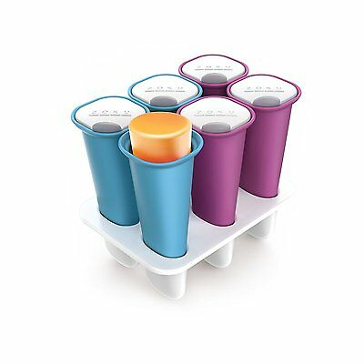 Zoku Summer Pops 6 Piece Silicon Ice  Lolly Pop Mould With Lids And Base