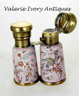 Victorian Silver Enamel Double Perfume Scent Bottle – Form of Opera Glasses
