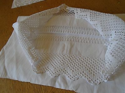 Pair Of  Vintage White Linen Long Pillowcases - Hand Crochet Lace