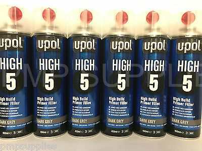 UPOL High 5 High Build Primer Aerosol DARK GREY BOX OF 6 NEW DESIGN