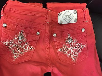 Miss Me Girls JK533558 Skinny Denim Jeans Size 12 Red