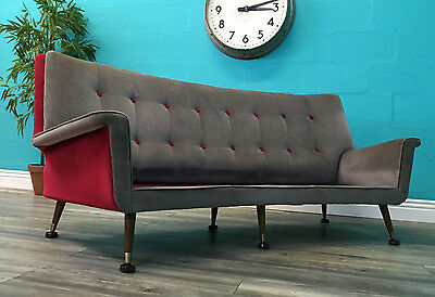 SUPERB QUALITY STRIKING RETRO MID CENTURY 50s BUTTON BACK SOFA ORIGINAL FABRIC