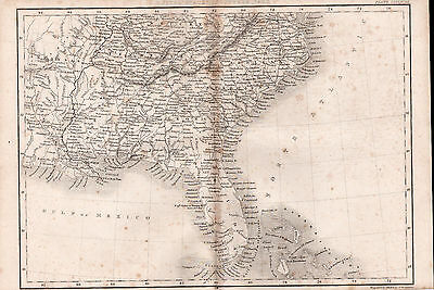 South America - Florida 1842 Original Antique Map