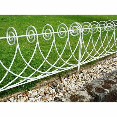 White Lawn Edging Scroll Design Wrought Iron - Solid In 615mm Lengths