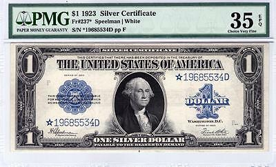 1923 Star $1 Silver Certificate. VF -35 EPQ by PMG. Very Clean example.