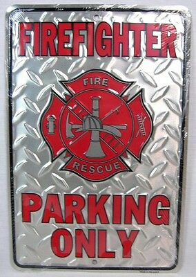 Firefighter Parking Only Aluminum Sign Novelty Rescue Fire Dept Station Fireman