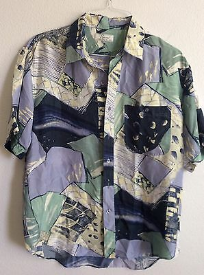 Mens VINTAGE SNOW Brand 100% Silk 90s Geometric Print Short Sleeve Button Down M