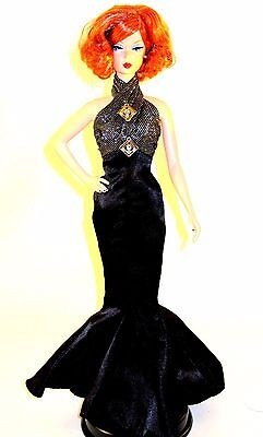 1920's style Barbie Black evening gown fits silk stone model muse royalty