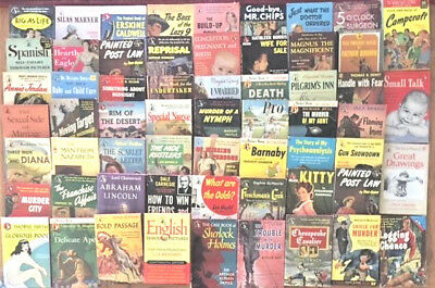 Vintage Assorted Pocket Books-VINTAGE, Mysteries, Fiction, Non-Fiction Lot of 61