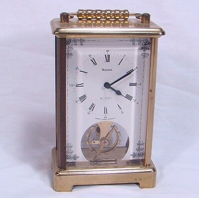 Bulova 8 Day Wind-Up Carriage Clock Made in Germany Two Jewels