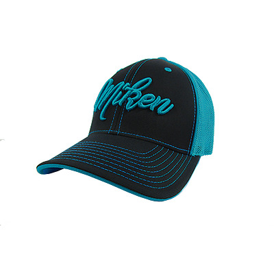 Miken Hat by Pacific 404M Black/TEAL Blue/Script SMALL/MED (6 7/8- 7 3/8), new