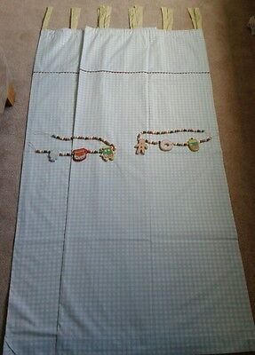 "Mamas & Papas Gingerbread Nursery Curtains & Tiebacks 52x64"" Baby Boy Blue White"