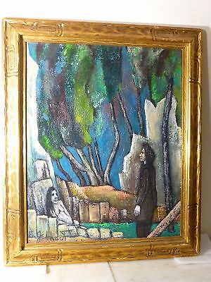 1944 VINTAGE ABSTRACT MODERNIST - EXPRESSIONIST OIL PAINTING Mid Century Signed