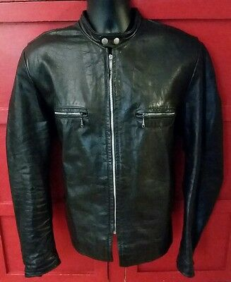 Vintage Brooks Cafe Racer Black Leather Sportswear Motorcycle Jacket Mens Sz 44