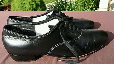 KINNEY Dancewear Men's Genuine Leather Black Ballroom Dance Leather Soles 10M