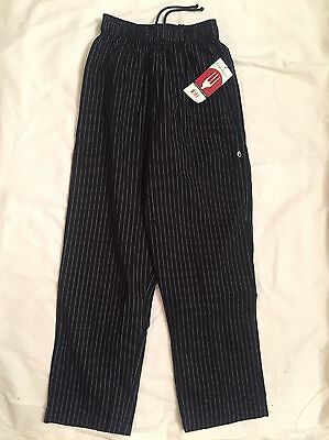 Chef Works Black Pinstripe Chef Pants SZ Small Restaurant Cook Baggy Elastic