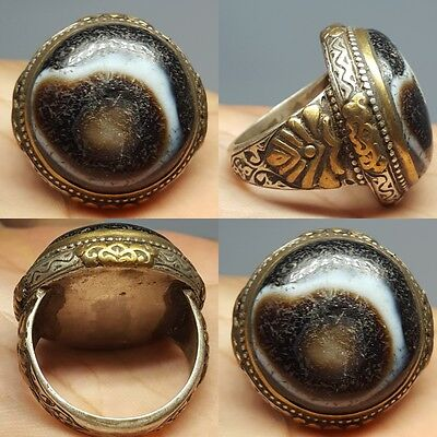Antique Rare Old Agate stone Silver Stunning Ring # v