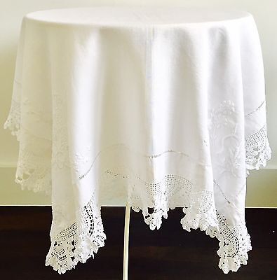 Vintage Antique Linen Embroidered Table Cloth With Pretty Lace Trim