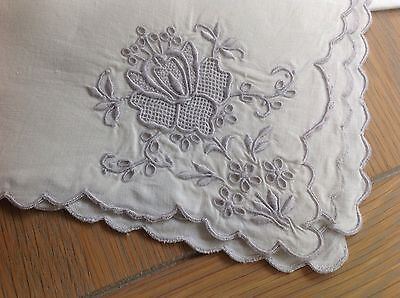6 Vintage Madeira Floral Hand Embroidery Irish Linen Napkins
