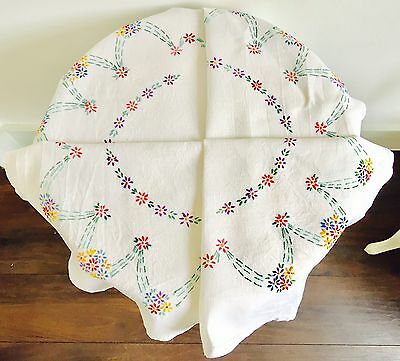 Vintage Linen Hand Embroidered Table Cloth Large Flower Head Motif