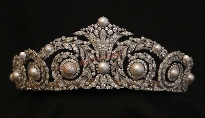 NEW VINTAGE ANTIQUE ROSE CUT DIAMOND 12.12ct SILVER PEARL ENGAGEMENT TIARA CROWN