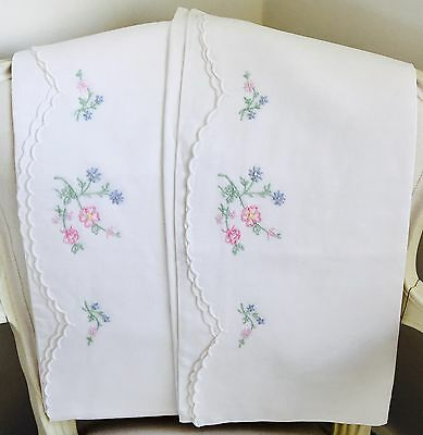 Vintage Linen Hand Embroidered Pillowcases Very Pretty Flowers