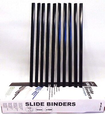 Pack of 10 (10 pieces) PAVO A4 Slide Binders 3-25 pages 3MM Black Report Binding