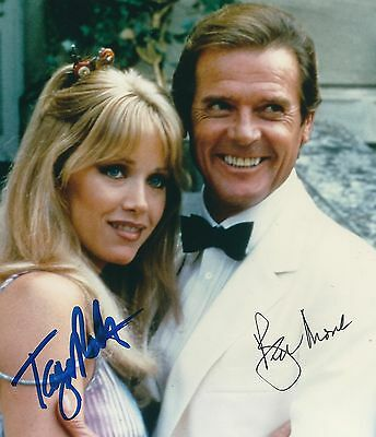 ROGER MOORE & TANYA ROBERTS SIGNED 7x6 JAMES BOND 007 PHOTO - UACC RD AUTOGRAPH