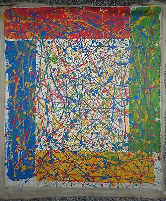 Vintage Abstract Canvas Signed Sam Francis,  Modern Old 20th Century Art