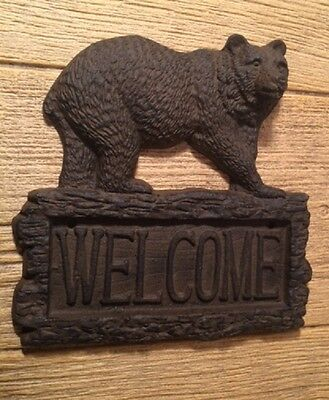 "Cast Iron Bear Welcome Plaque 9 1/2"" tall Home Decor Supplies 0170S-08445"