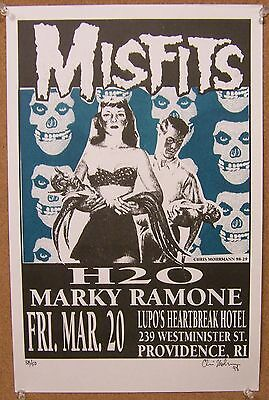 MISFITS Marky Ramone H2O Providence RI Gig Poster 1998 NOS Limited Edition s/n