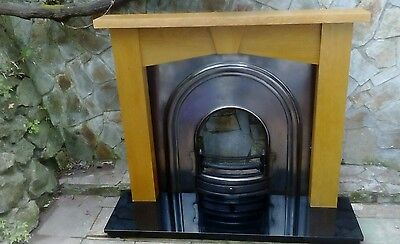 Cast Iron Fire Insert With Oak Surround + Marble Hearth -Torquay