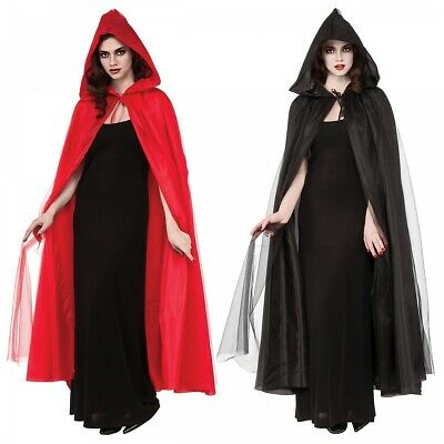 Full Length Hooded Cape Costume Accessory Adult Halloween Fancy Dress