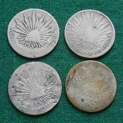 4 COINS LOT  MEXICO  2 REALES Caps & rays  Silver