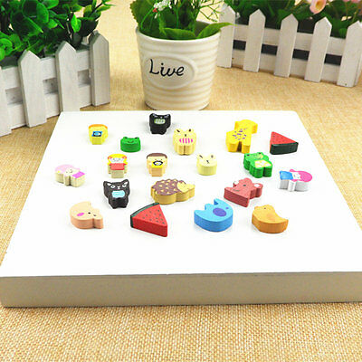19pc/set Cartoon Animal & Fruit Wood Fridge Magnet Sticker Refrigerator Cute Toy