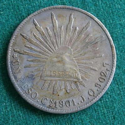 1901 MEXICAN SILVER COIN 1 PESOCn JQ Nice toning